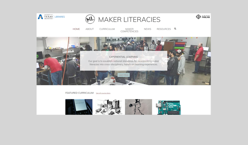 Maker Literacies website homepage