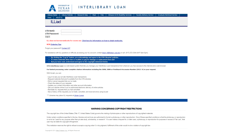 Interlibrary Loan Home Page