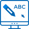 Pencil and ABC on computer monitor